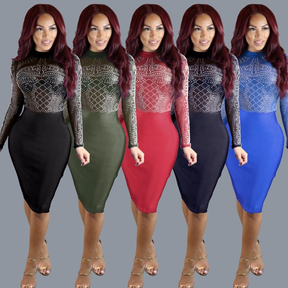 Black Blue Army Green Red Sky Blue Diamond Mesh Digital Print Bodycon Dress