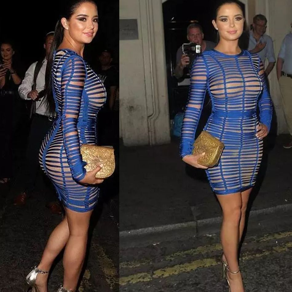 Blue Mesh Gianante Bodycon Evening Party Dress