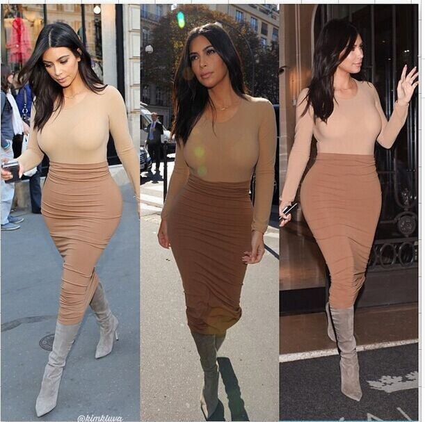 Celeb Kardashian Style 2Piece Bandage Bodycon Dress
