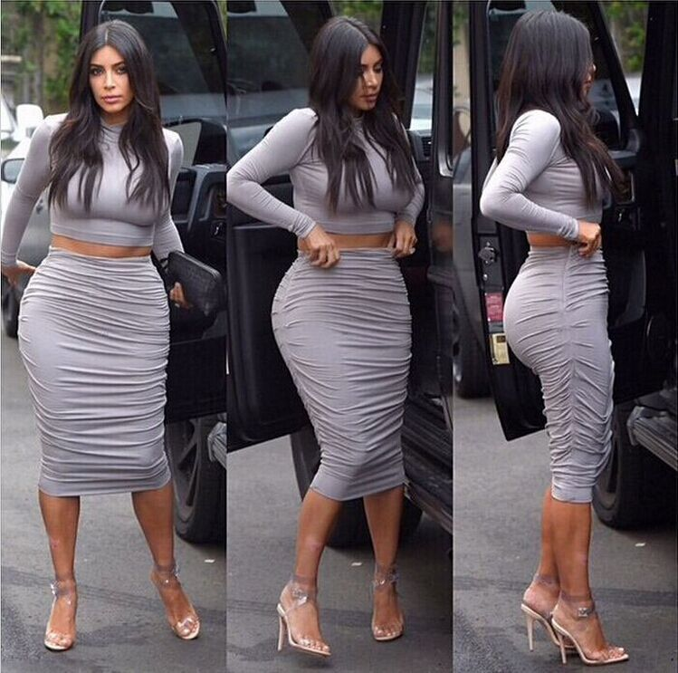 Celeb Kardashian Style Grey 2Piece Bandage Bodycon Dress