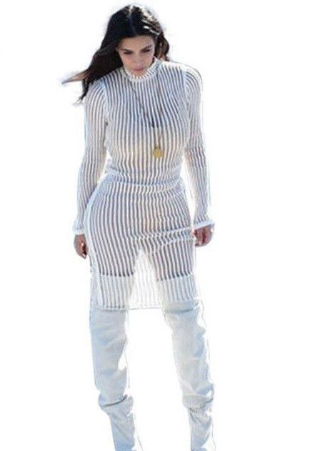 Celeb Style White Striped Perspective Long Sleeve Bodycon Dress Casual Club