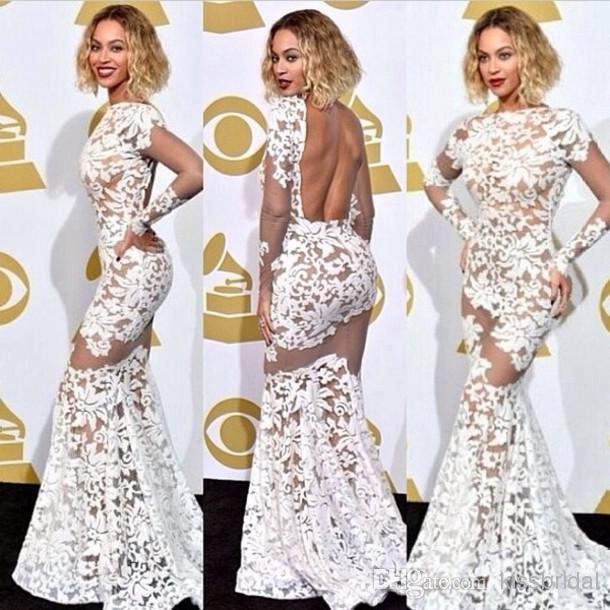 Celebrity Inspired Grammy Award Beyonce SheerBackless Ivory Dress