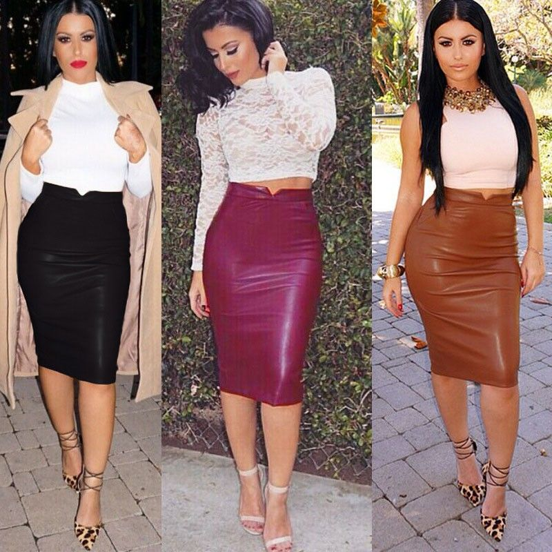 Classic Style High Waist PU Leather Skirt in Black,Burgundy,Brown