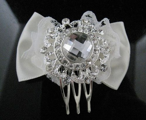 Compact & Bijou Faceted Crystal Bow Hair Comb(DAH343)