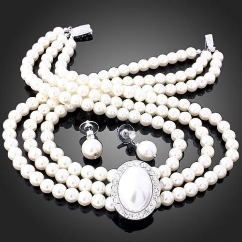 Fashion Cream Pearl Necklace & Earring set(includes gift box)
