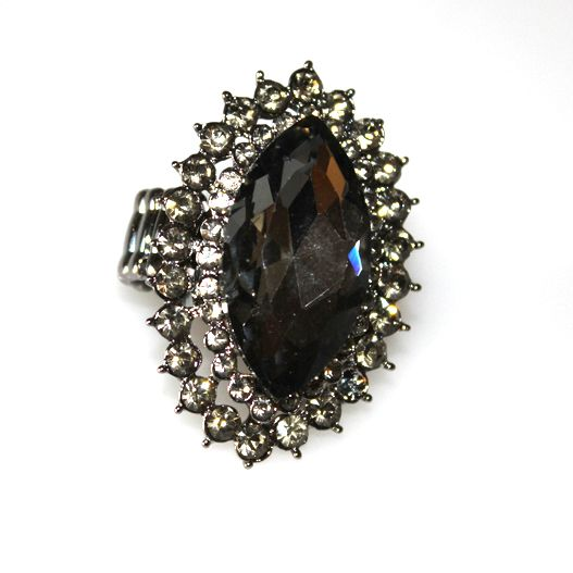 Large Costume Jewellery Smoky Crystal  Ring