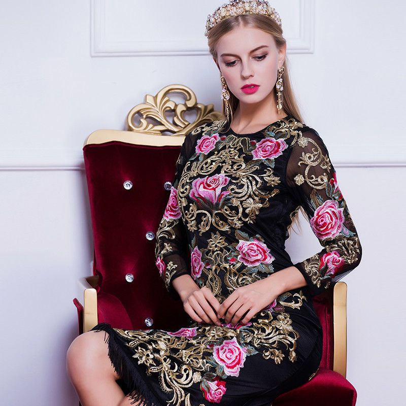 Luxury Vintage Fashion Rose Embroidery Tassel Mermaid Handmade Dress