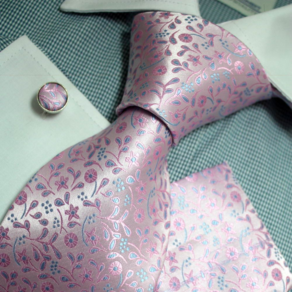 Mens Blue Pink Flower Silk Tie Cufflink & Hanky Set (PH1143)