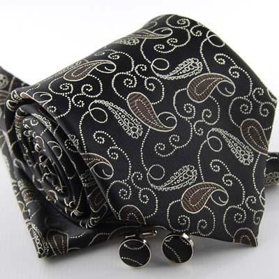 Mens Brown Paisley Silk Tie Cufflink & Hanky Set (DA856)