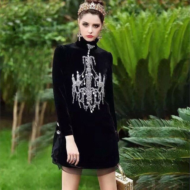 New Arrival Quality Fashion Catwalk Designer Style Rhinestone Chandelier Dress