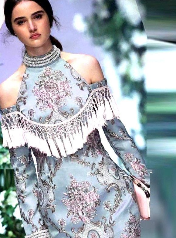 New Luxury Beaded Off Shoulder CATWALK RUNWAY STYLE Tassel Dress