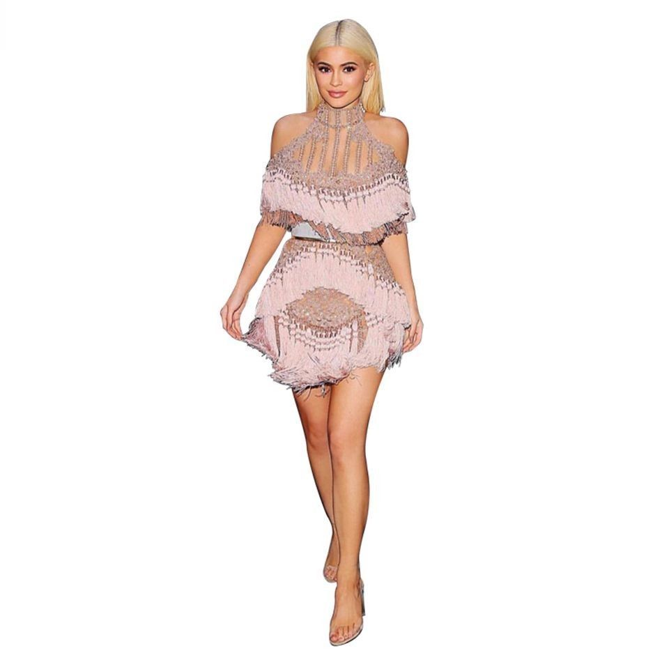 New Luxury Cap Sleeve Beaded Off Shoulder CATWALK RUNWAY STYLE Tassel Dress
