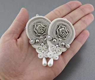 Soutache Metal Roses Earrings,Designer,Handmade,Unique