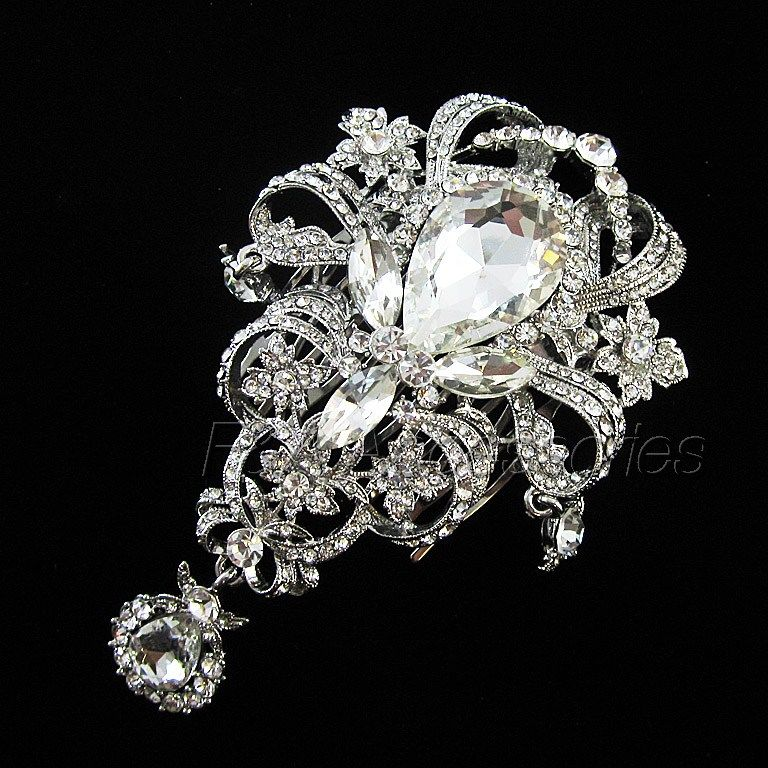 Stunning Vintage Downton Abbey Inspired Austrian Crystal HairComb(DFS00011)