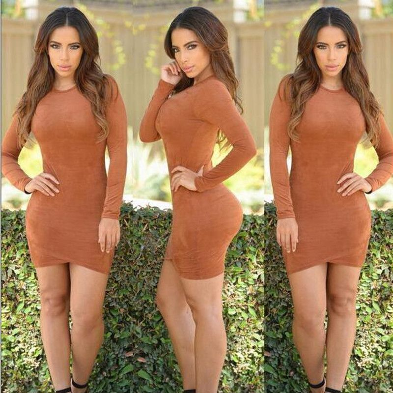 Synthetic Leather Suede Camei, Grey  Bandage Bodycon Dress