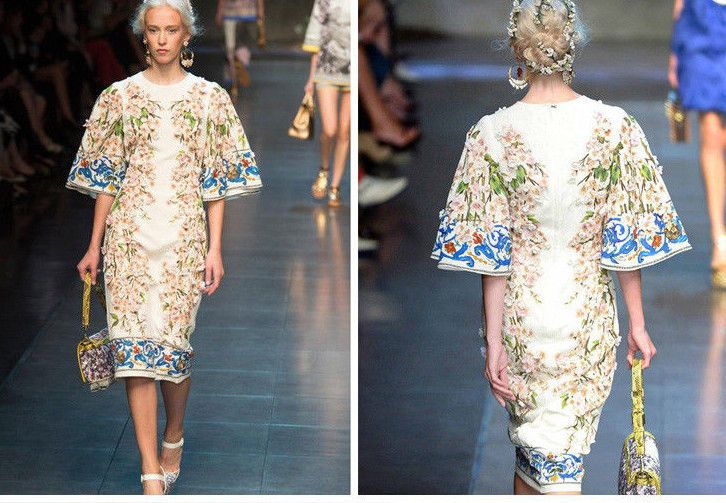 Textural Floral Luxury Fashion Flared Sleeve  CATWALK RUNWAY STYLE Dress