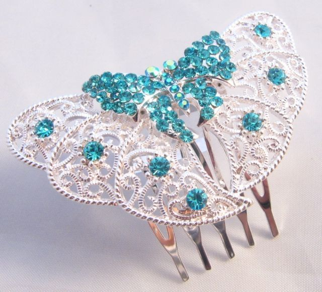 Turquoise,Rose Pink,Lilac,Clear,Diamante Crystal Butterfly Hair Comb (DAH156)
