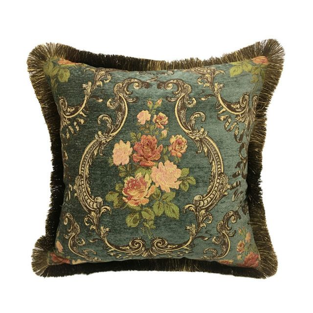 Vintage Deluxe dark Green French Rose Style Cushion Cover