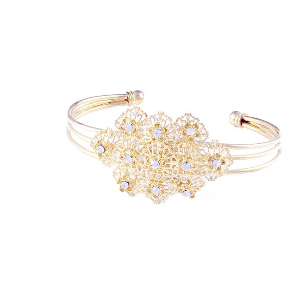 Vintage Inspired  Rhinestone Crystal Oval  Gold Plated Bracelet(DAB140)