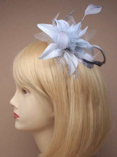 White Flower Net & Feather Fascinator + Comb(DAH005)