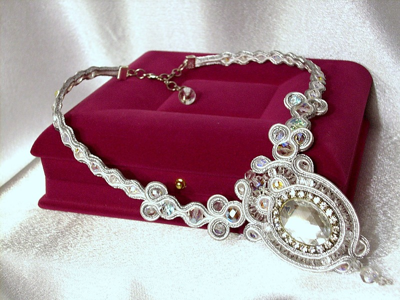 White & Silver Sheen Soutache necklace,Designer,Handmade(DA1499)
