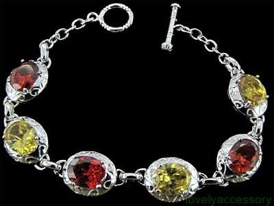 Yellow & Red Crystal 925 Silver  Bracelet,Party,Casual (3589177)